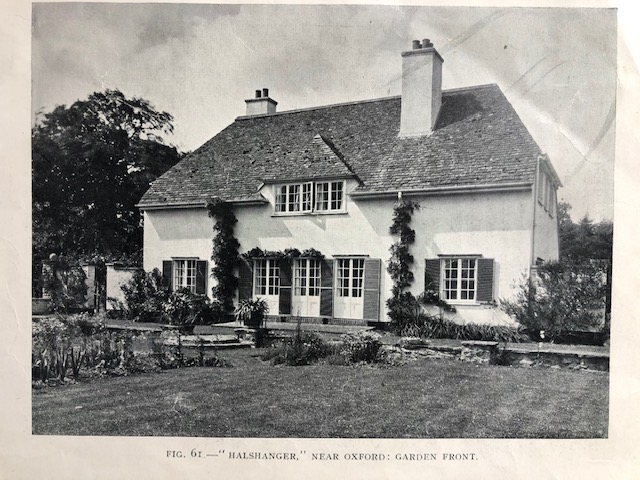 "Two storey white house, from magazine, caption reads, Fig. 61 ""Halshanger"" near Oxford: Garden Front"