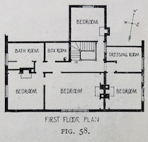 First floor plan, shows four bedrooms, bath room, box room, and dressing room.