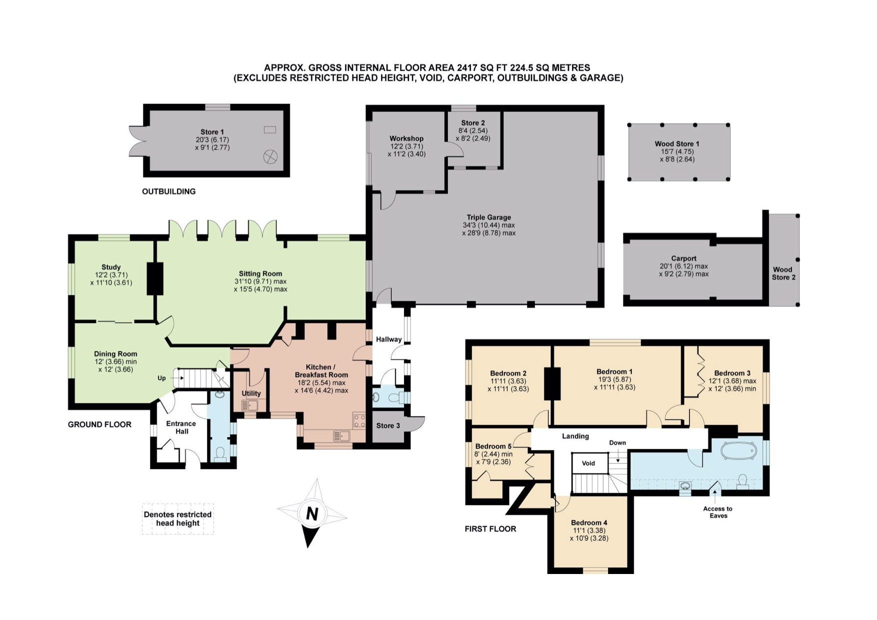 Colour floor plans showing additional garages and renovated spaces