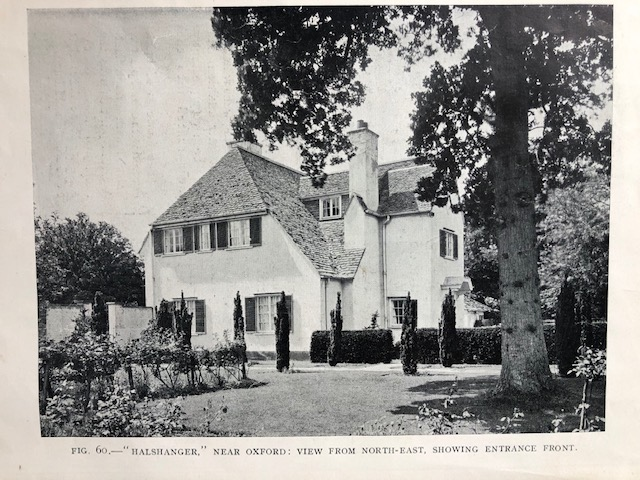 "Two storey white house, from magazine, caption reads, Fig. 60 ""Halshanger"" near Oxford: View from North-East, showing Entrance Front"