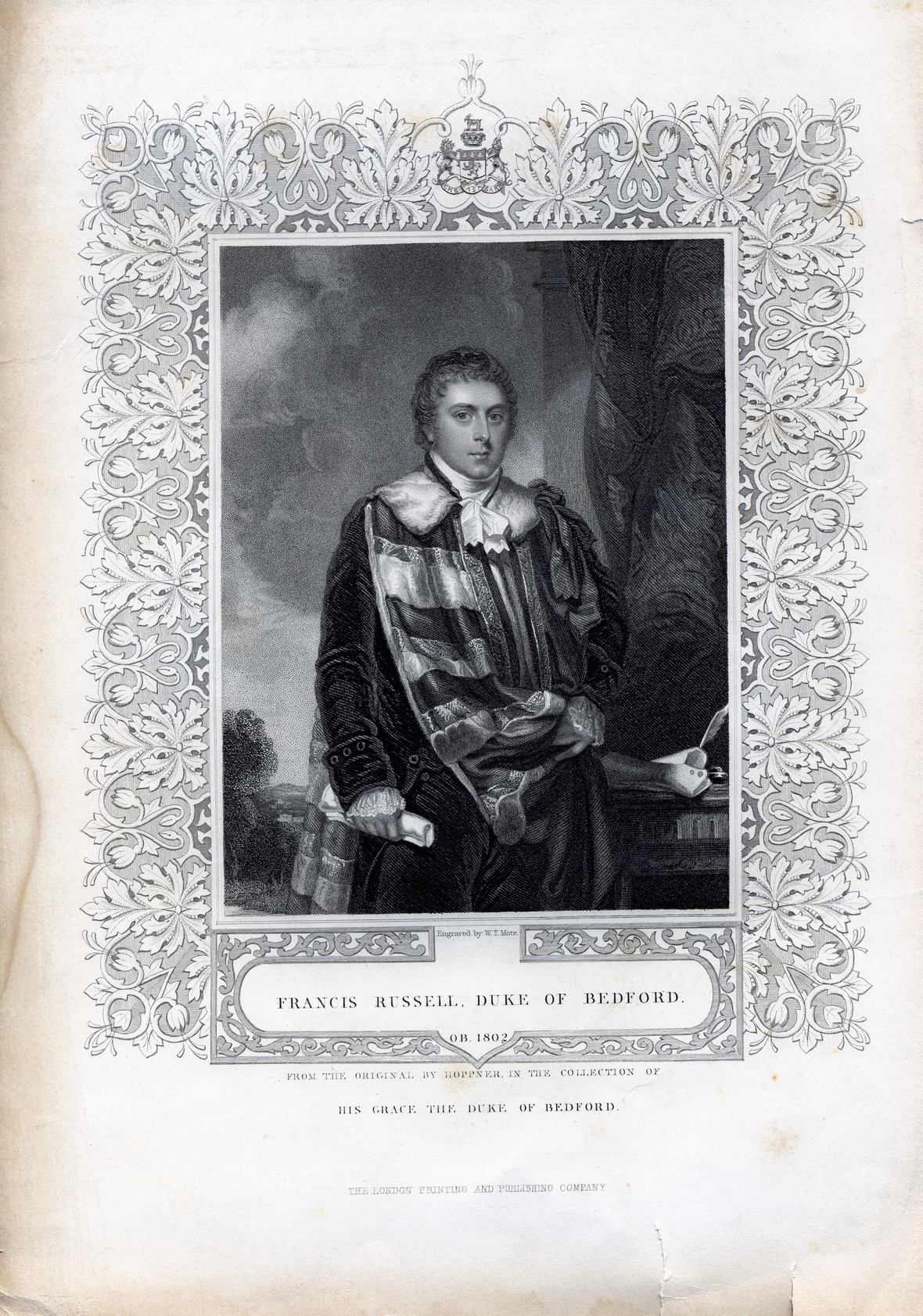 Engraved ortrait of Francis Russell, Duke of Bedford
