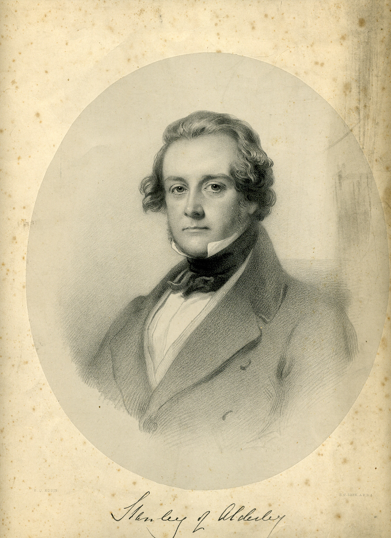 Engraved portrait of Lord Stanley of Alderley