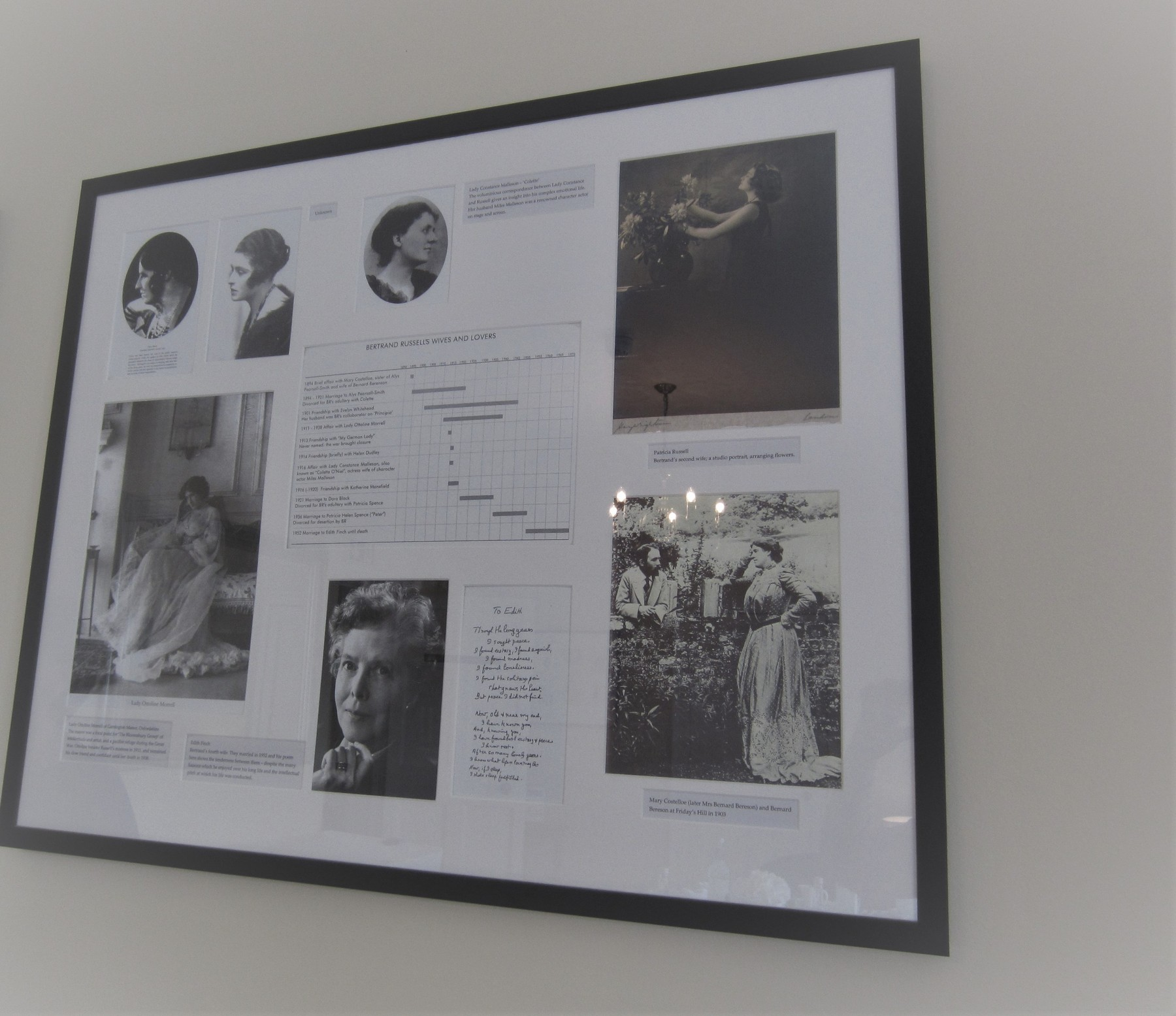 Photo of framed image featuring the wives and lovers of Bertrand Russell