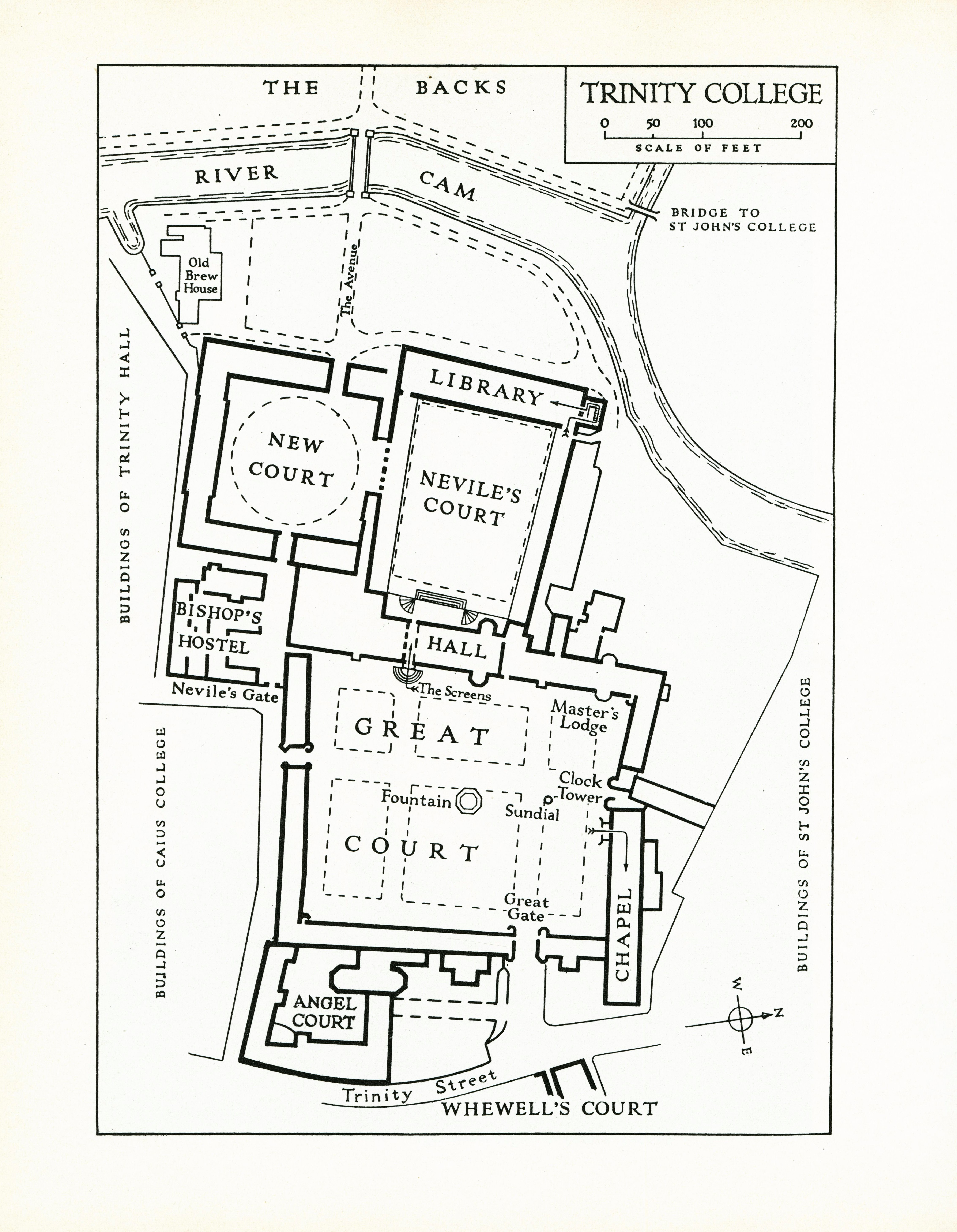 Line drawn map of Trinity College