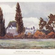 Colour illustration of a large white house beyond a hedge and trees. [caption on the image] Pembroke Lodge. From the Park. From a water-colour drawing by W.C. Rainbow, 1883.