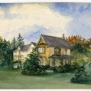 Watercolour painting of house with pine trees beyond.